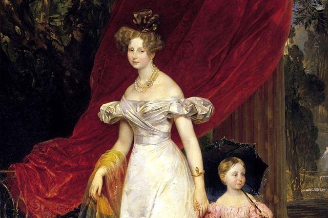 Портрет великой княгини Елены Павловны с дочерью Марией (Карл Брюллов, 1830, Русский музей)