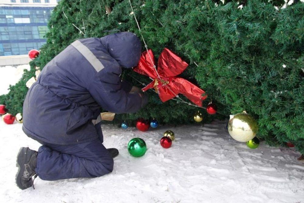 Опустившуюся на землю елку разобрали на ветки.