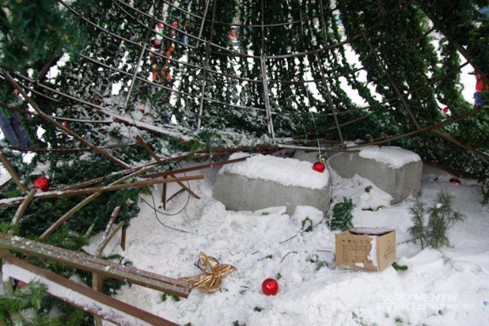 Ураган обломал ветки и сбросил украшения с лесной красавицы.