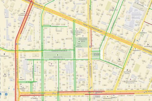 В областной столице зафиксированы девятибалльные пробки.