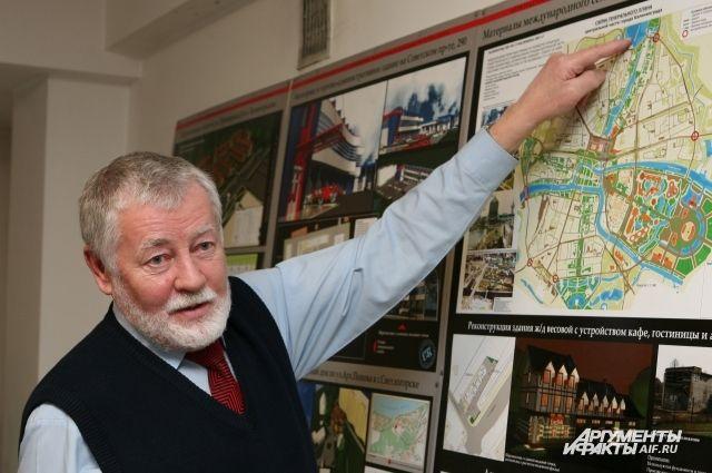 Архитектор предлагает сделать платформу с водяными каскадами над Московским проспектом.