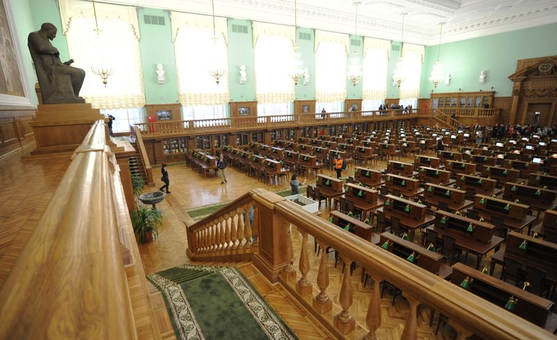 Читальный зал был открыт в 1958 году, на завершающем этапе строительства главного здания библиотеки, начатого еще в 1928 году, но прерванного с началом войны.