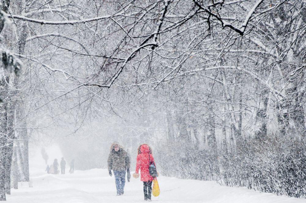 Прохожие на улице Крупской во время снегопада в Москве.