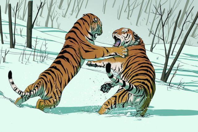 Так увидел художник роковую схватку двух хищников.