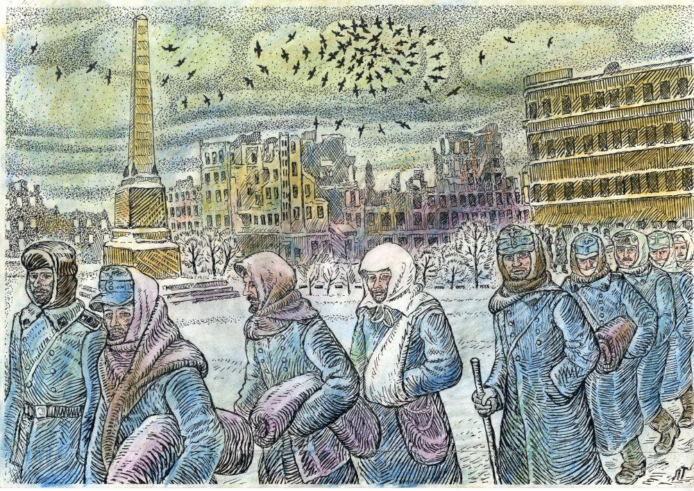Это они разрушали и жгли город. Убивали женщин, стариков и детей. А теперь идут сдаваться в плен. 91 тысяча немецких пленных в Сталинграде.