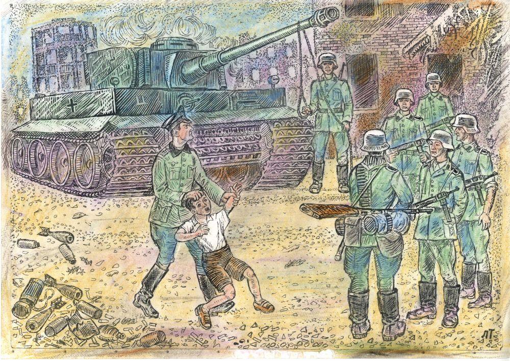 «Связав нам руки и подвесив на стволе танка, нас отлупили. При первых же ударах плетки от своего крика я охрип, потерял голос и больше ничего не мог рассказать».