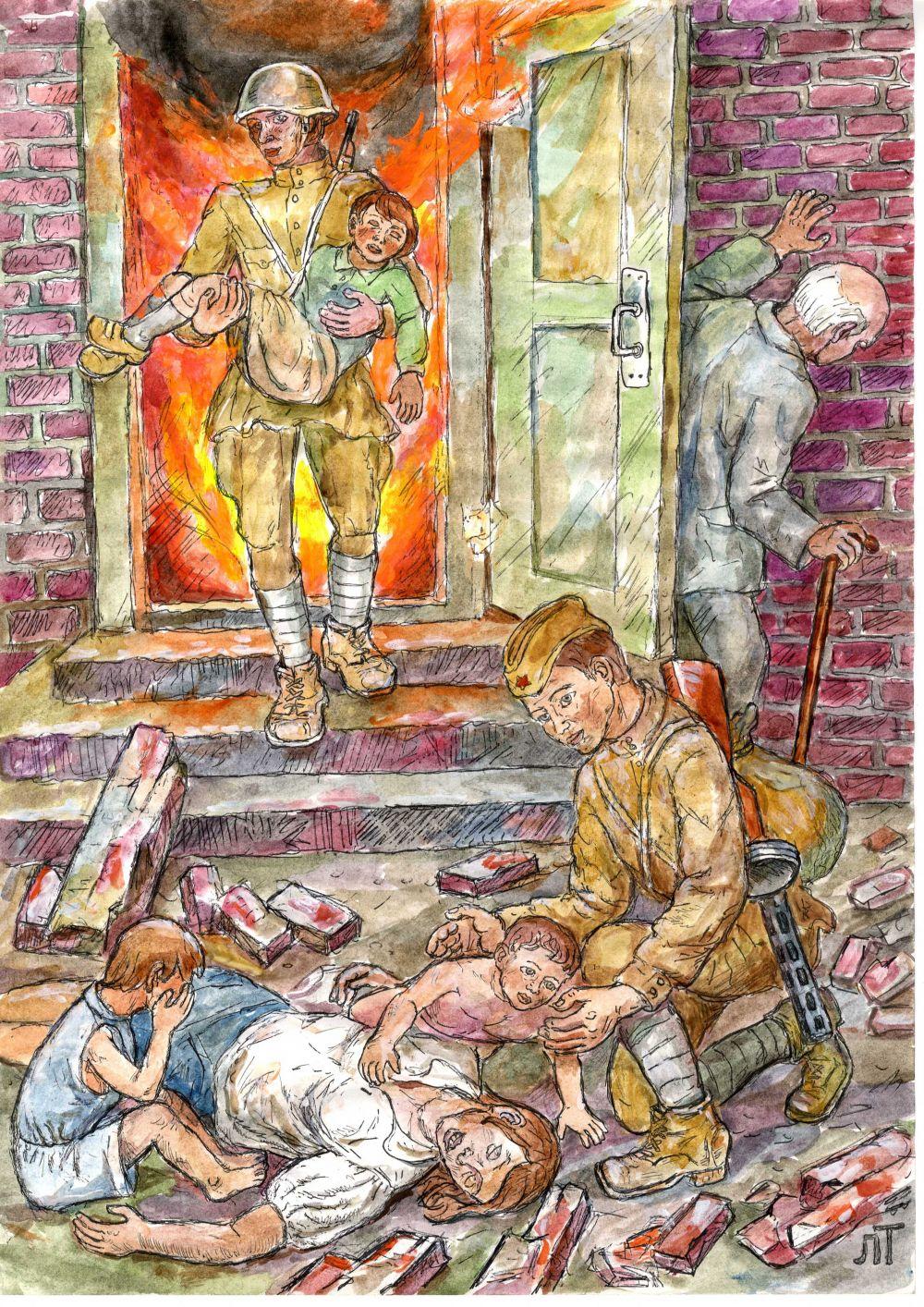 Роль пожарных и спасателей выпала на долю солдат.