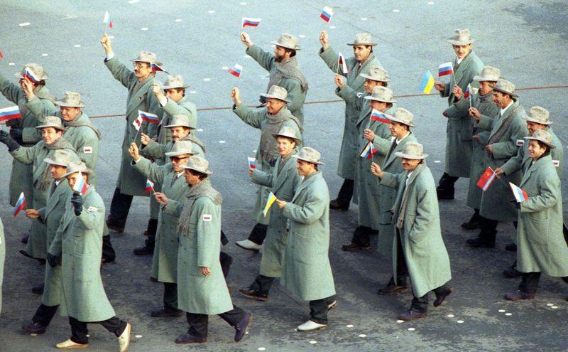 Объединенная команда на церемонии открытия XVI Олимпийских игр.