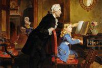 Картина XIX века, изображающая Вольфганга и его отца Леопольда за занятием музыкой. Художник — Эбенейзер Кроуфорд