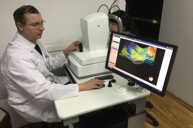 Обследование на когерентном оптическом томографе с ангиографической приставкой.