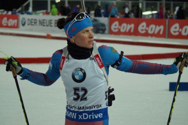 Светлана Слепцова на этапе Кубка мира по биатлону в Ханты-Мансийске.