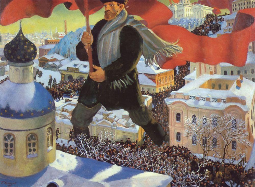 После 1917 года художник участвовал в оформлении Петрограда к первой годовщине Октябрьской революции, рисовал плакаты, лубки и картины на революционную тематику. «Большевик» (1920).