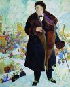 Уже с начала 1900-х годов Борис Михайлович разрабатывал собственный жанр портрета: портрета-картины, в котором модель связана с окружающим ее пейзажем или интерьером. «Портрет Шаляпина» (1921).