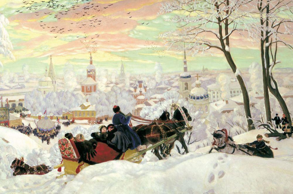 Эти работы очень зрелищные, декоративные, и раскрывают русский характер через бытовой жанр. «Масленица» (1903).