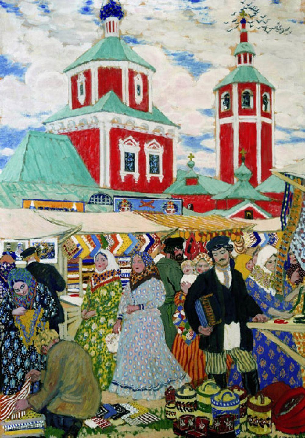 Но интересы Кустодиева выходили и за рамки портрета. В начале 1900-х он несколько лет подряд выезжал на натурные работы в Костромскую губернию и в 1906 году представил серию полотен на тему крестьянского и мещанско-купеческого быта. «Ярмарка» (1910).