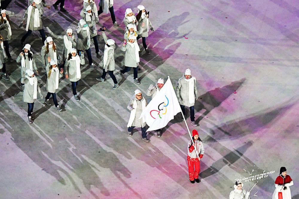 Cборная России во время церемонии открытия Олимпиады.