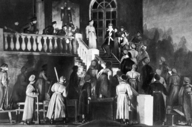 Актеры Московского Художественного театра в сцене из спектакля «Дни Турбиных», поставленной по пьесе Михаила Афанасьевича Булгакова.