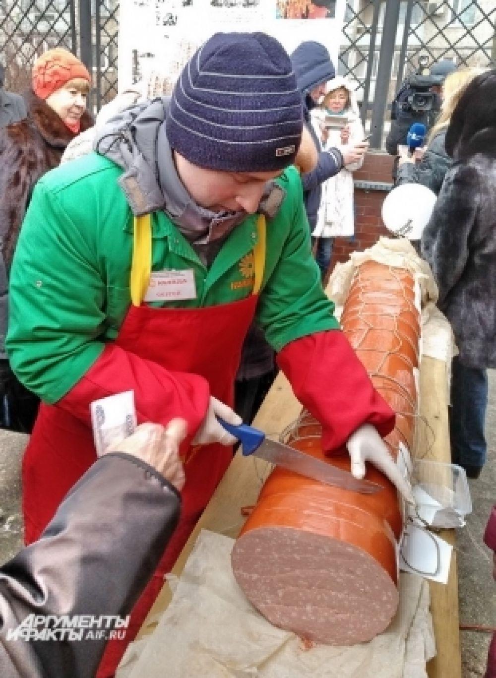 135-килограммовую вареную колбасу сделали точно по ГОСТу.
