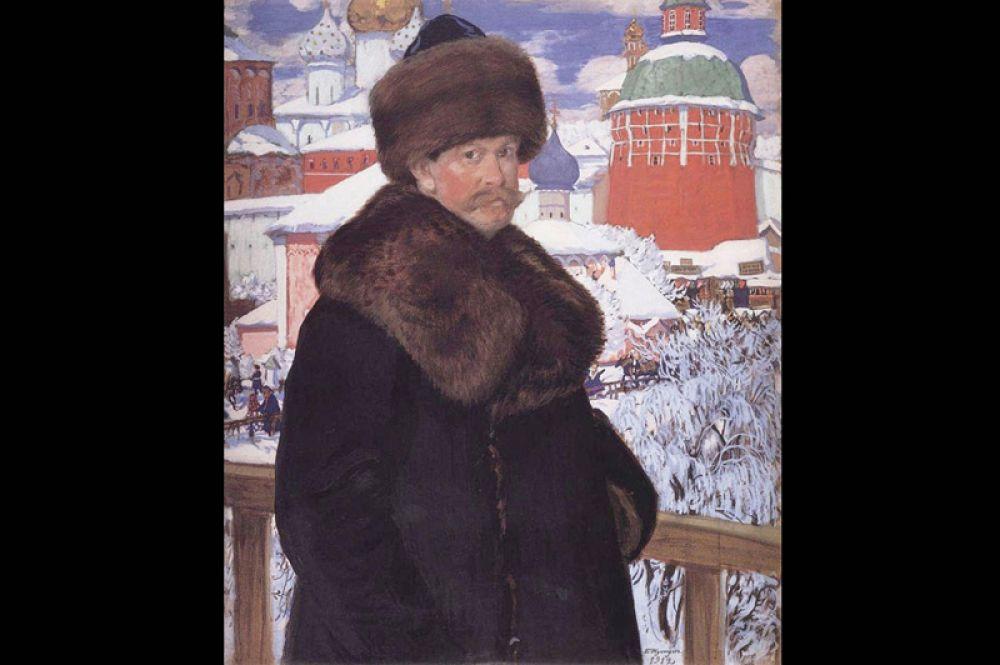 Кустодиев начал свой путь как художник-портретист. Невероятно быстро для молодого художника он завоевал популярность у прессы и заказчиков. Автопортрет (1912).