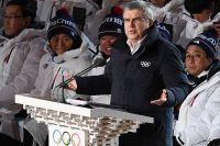Президент Международного олимпийского комитета (МОК) Томас Бах выступает на церемонии открытия XXIII зимних Олимпийских игр в Пхенчхане.