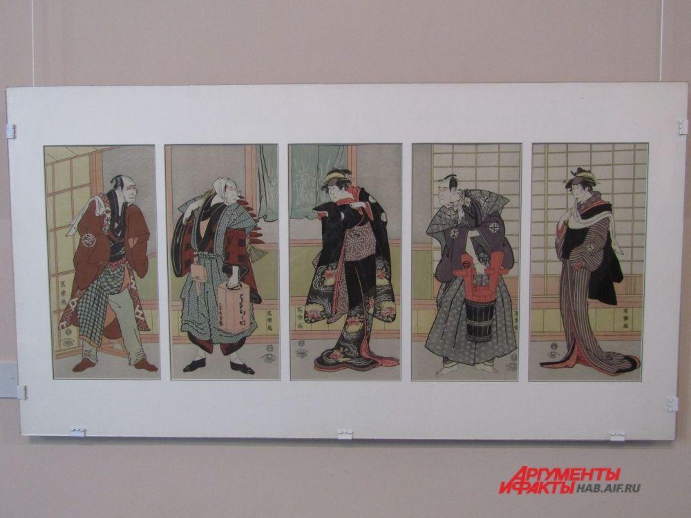 """Графика, на которой изображены артисты театра """"Кабуки"""", в котором все роли исполняют только мужчины."""