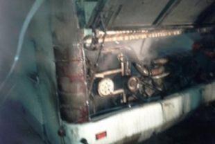 Автобус загорелся.