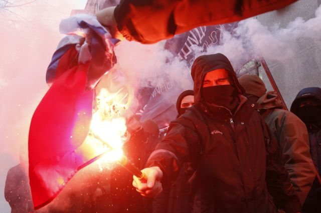 Нападение националистов на здание Россотрудничества в Киеве