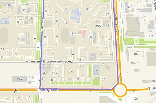 Измененная схема движения автобусного маршрута