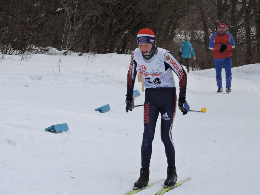 Финиш карсунского лыжника Никиты Грачева