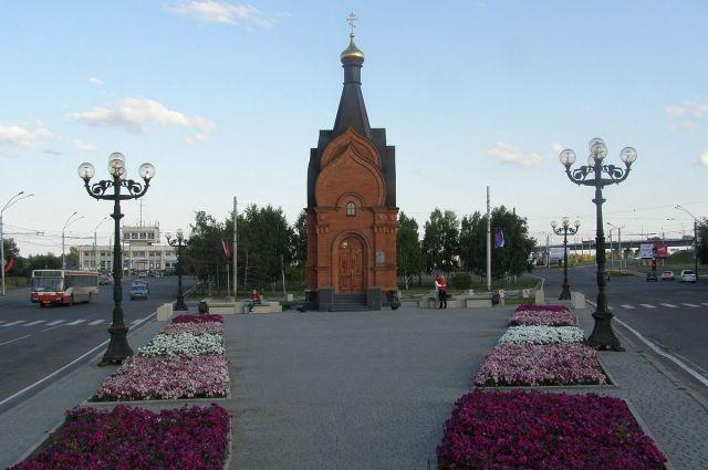 Часовня князя Владимира. на пл. Баварина в Барнауле.