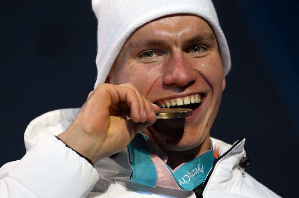 Александр Большунов. Бронзовая медаль в мужском спринте.