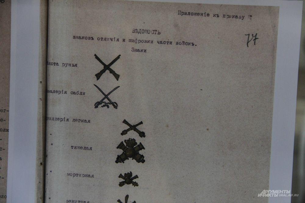 Ведомость знаков отличия и шифровки частей войск