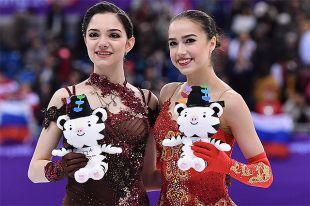 Призеры женского одиночного катания в соревнованиях по фигурному катанию на XXIII зимних Олимпийских играх: Евгения Медведева - серебряная медаль и Алина Загитова - золотая медаль.