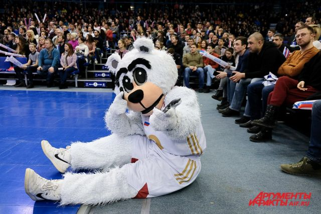 Медведь Мэни - талисман пермского баскетбольного клуба - болел за сборную России.