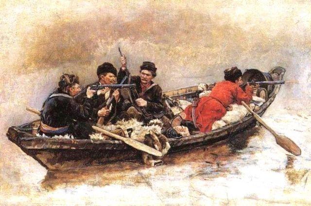 «Казаки в лодке».