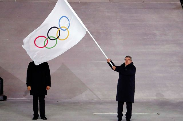 Томас Бах на церемонии закрытия ОИ-2018.