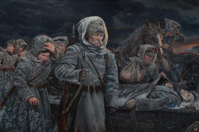 Фото фрагмента картины Владимира Киреева «Ледяной поход – сквозь времена». Холст, масло, 2017