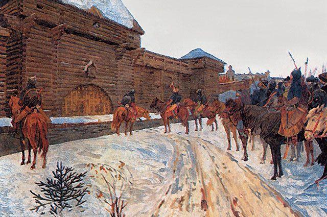 Картина В. Максимова «Монголы у стен Владимира».