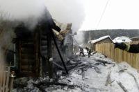 Дом практически полностью сгорел.