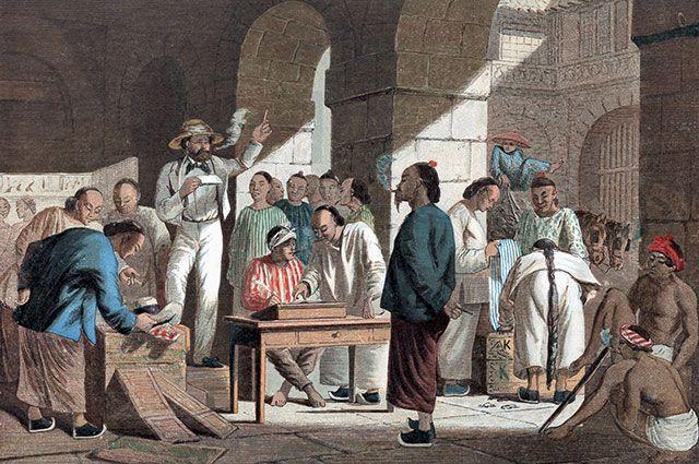 Торговля британскими товарами в Кантоне (ныне Гуанчжоу), 1858 г.