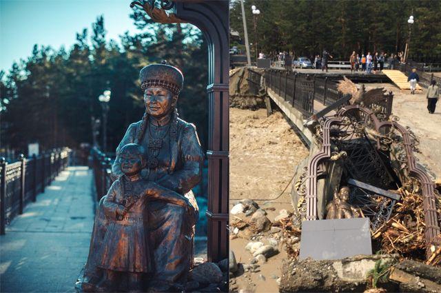 Последствие селя в посёлке Аршан в 2014 году: мощный грязевой поток сносил на своём пути даже мосты.