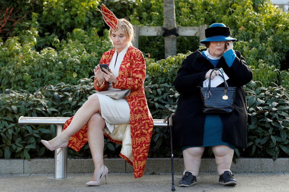 Посетительницы Челтенхемского фестиваля скачек на ипподроме, Великобритания.
