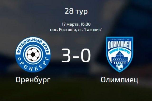 ФК «Оренбург» после разгрома «Олимпийца» занял на второе место.