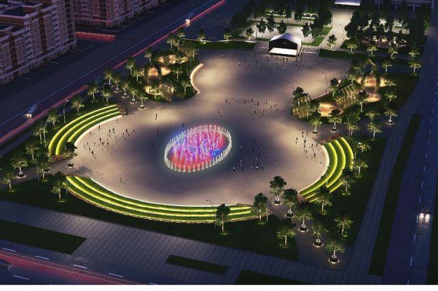Предполагается, что в центре площади будет фонтан, окружённый амфитеатрами.
