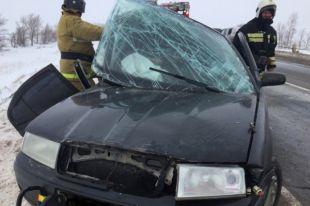 В Октябрьском районе Skoda протаранила дорожное ограждение, пострадали трое.