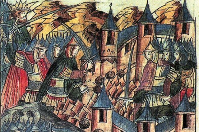 Репродукция миниатюры «Оборона Козельска в 1238 г.» (конец XVI века) из книги «Иллюстрированная история СССР». Миниатюра летописного свода XVI в.