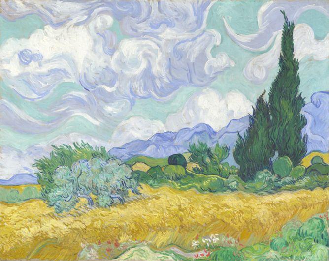 Картина «Пшеничное поле с кипарисами» была написана во время пребывания Ван Гога в лечебнице Святого Павла. Картина, вдохновленная видом из окна, была продана в 1993 году за 57 млн долларов предпринимателю Уолтеру Анненбергу.