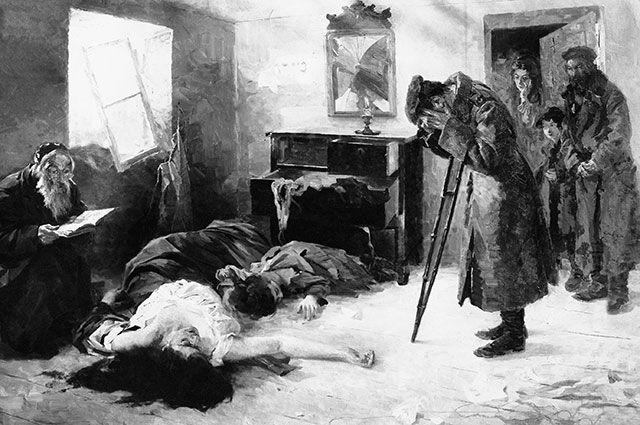 Картина Моисея Маймона «Опять на родине» (1906). Солдат-еврей обнаруживает свою семью убитой в результате погрома.