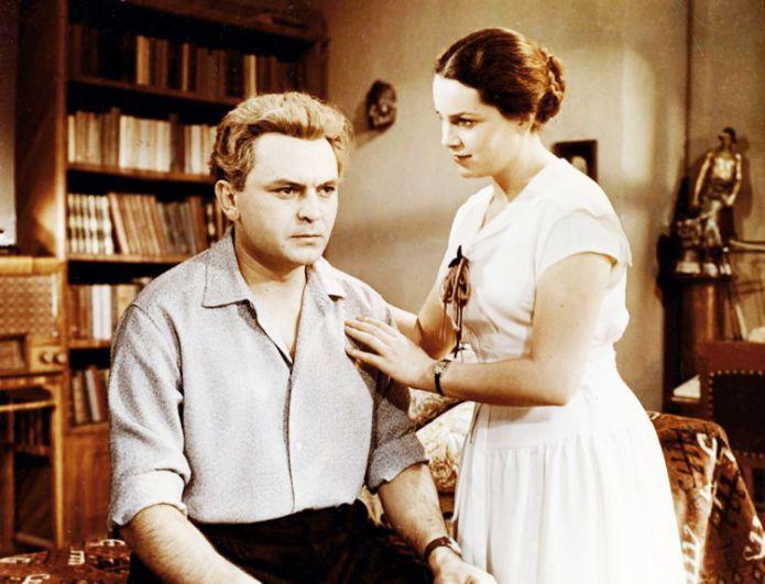 Элина Быстрицкая и Сергей Бондарчук на съемках фильма «Неоконченная повесть».
