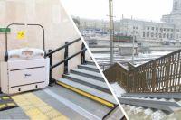 Почувствуйте разницу: слева электронный подъёмники в Сочи, где всё делает машина, и справа Комсомольский путепровод с таким наклоном, что только мешки с картошкой по нему спускать, а не людей в колясках.